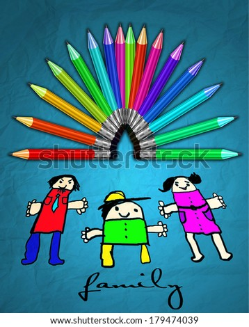 Color Crayons palette and children drawing with family - stock photo