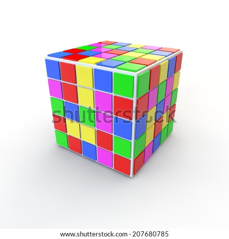Color cube on the isolated background - stock photo