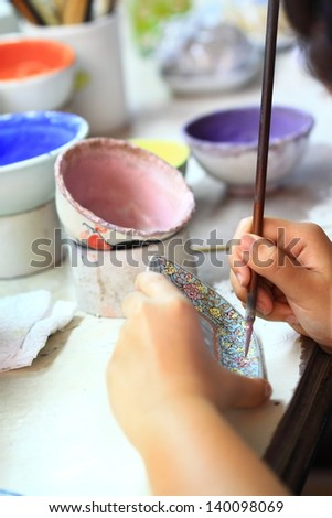 Color cups drawing - stock photo