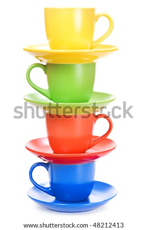 Color cups isolated on white background. - stock photo