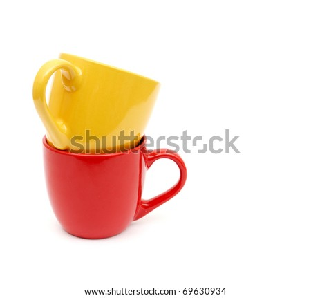 Color cups on a white background. - stock photo