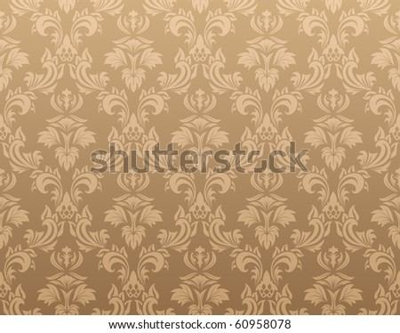 Color Damask Seamless Vector Pattern.  Elegant Design in Royal  Baroque Style Background Texture. Floral and Swirl Element.  Ideal for Textile Print and Wallpapers.  - stock photo