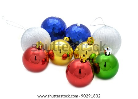 Color decoration balls on white background.