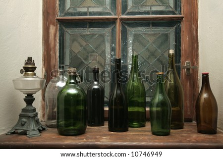 color decoration bottles on the window
