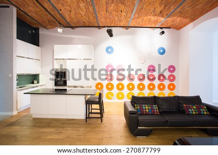 Color decoration on the wall in contemporary interior - stock photo