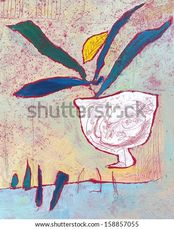 Color decoration pattern on background, cup of coffee, painting - stock photo