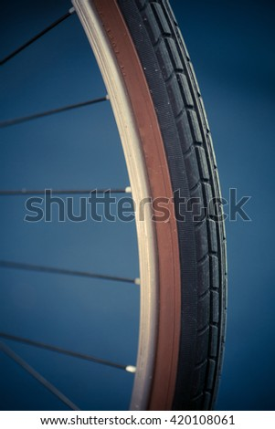 Color detail image of a bicycle tire.