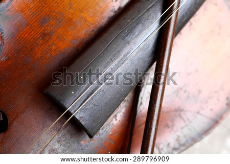 Color detail of a used, old violin.