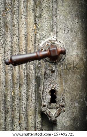 Color detail of a vintage door handle - stock photo