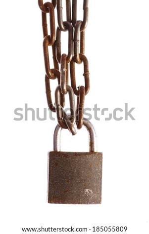 Color detail of some rusty chains and a lock, on white. - stock photo
