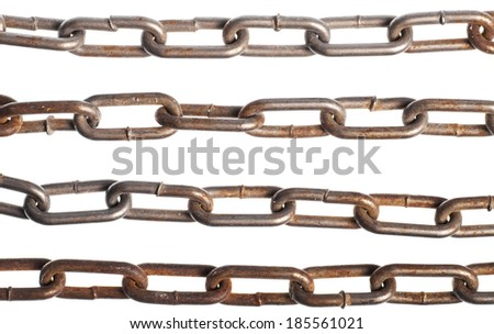 Color detail of some rusty chains, on white. - stock photo