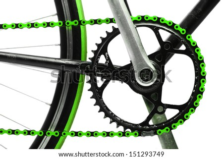 Color detail on a green chain from a bicycle - stock photo