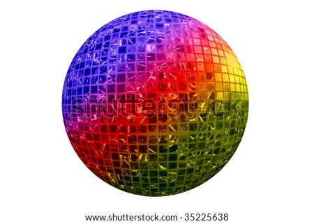 Color disco ball isolated on white background - stock photo