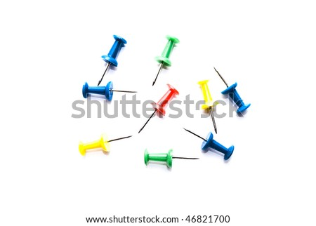 color drawing pin or thumbtack - stock photo