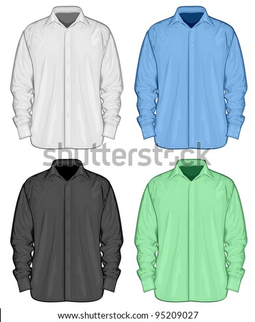 Color dress shirts (button-down). Front view. Raster version - stock photo