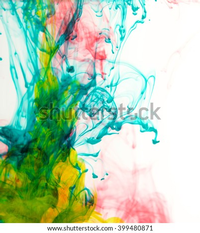 Color drop in water, photographed in motion. Ink swirling in water. Cloud of silky ink in water isolated on white background. Colorful ink in water, ink drop - stock photo