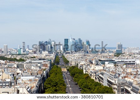 Color DSLR stock image of Paris city skyline, including the skyscrapers of neighborhood known as La Defense on the outskirts of the city. Horizontal with copy space for text