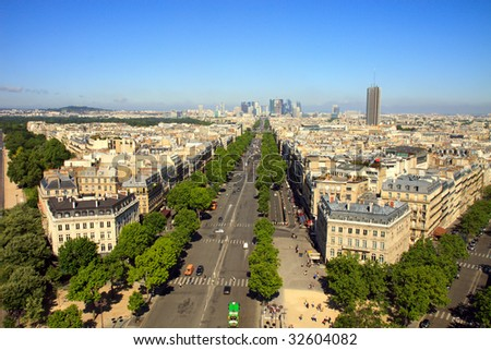 Color DSLR wide angle view of the Paris, France city skyline from the top of the Arch de Triumph. Champs Elysee street to the horizon. Horizontal with copy space for text.