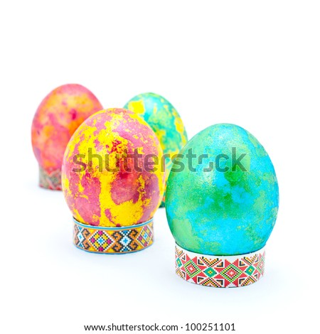 Color Easter eggs, isolated on a white background - stock photo