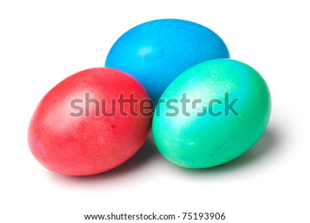 color easter eggs isolated on a white background. studio photography