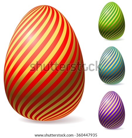 Color Easter eggs with golden stripes. - stock photo