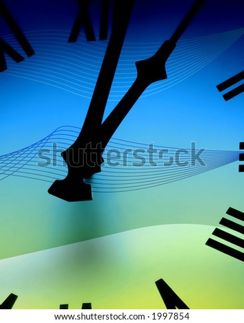 Color effect applied to clock face abstract - stock photo