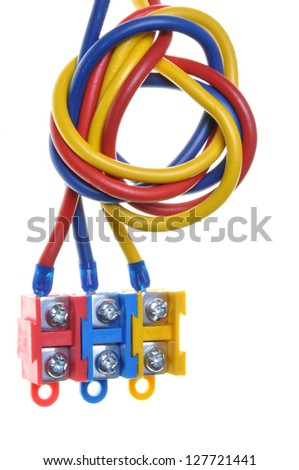 Color electric cable with terminal block isolated on white background - stock photo