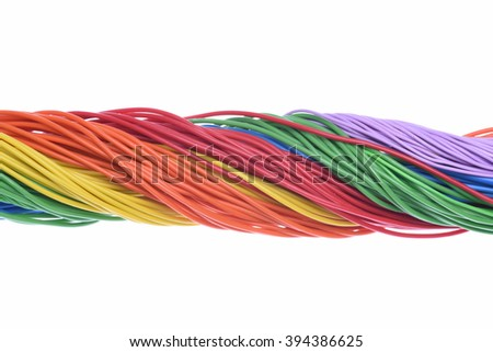 Color electrical wires isolated on white background - stock photo