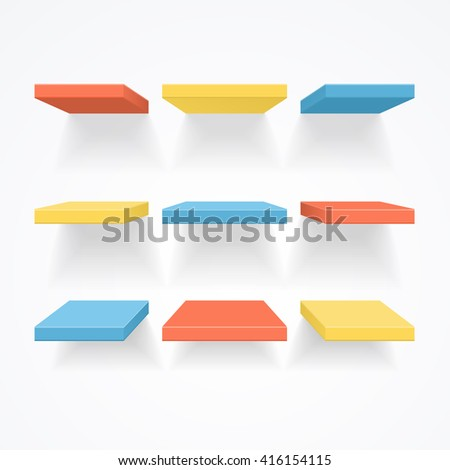 Color Empty Shelves. Ready For Your Design. illustration - stock photo