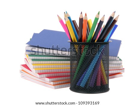 color exercise book and pencil with markers - stock photo