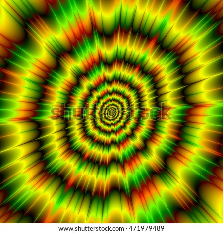Color Explosion in Yellow Green and Red / An abstract image with an eye boggling color explosion design in yellow, green, red and black.