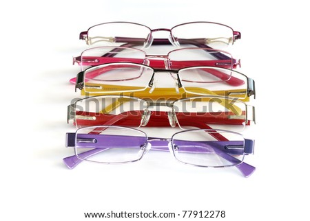 color eye glasses frame isolated on white background - stock photo
