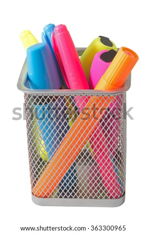 Color felt-tip pens over white background - stock photo