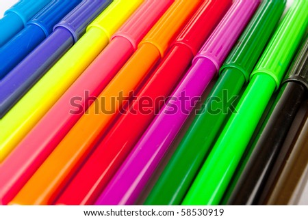 Color felt-tips background - stock photo