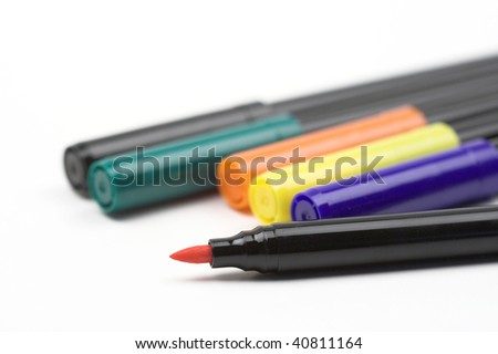 color fibre pens close up