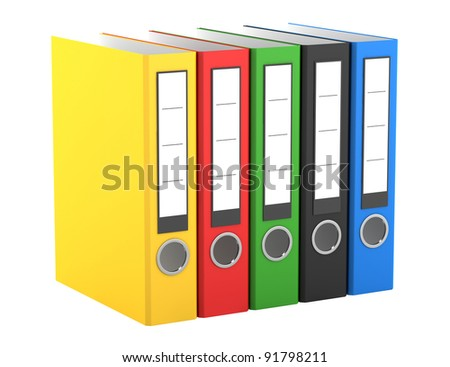 color file folders isolated on white background - stock photo