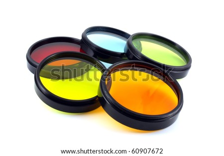 Color filters for lenses camera over white - stock photo