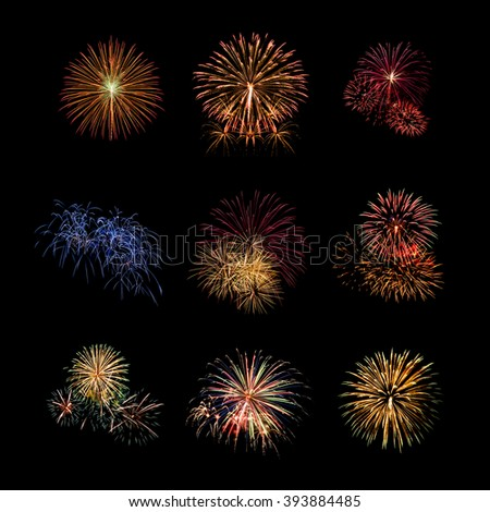 Color fireworks set light up on sky with dazzling display on black background. Event and celebrations background concept - stock photo