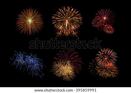 Color fireworks set light up on sky with dazzling display on black background. Event and celebrations background concept