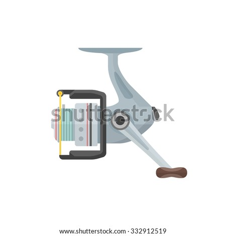 color flat design metal gray spinning fishing reel isolated illustration white background  - stock photo