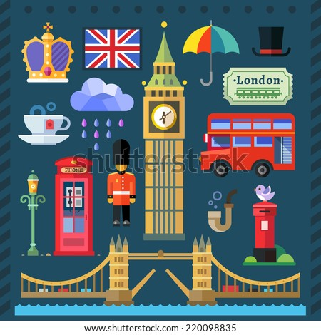 Color flat illustrations Great Britain Kingdom, London Capital: Big Ben, Tower Bridge, Thames, Queen, flag, English tea, red bus, telephone box, rain, umbrella. - stock photo