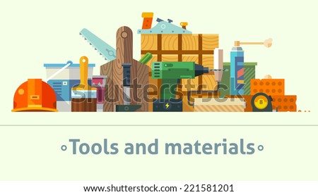 Color flat illustrations tools and materials for the repair and construction:paint bucket, brush, wooden box, screwdriver, saw, drill, roller, tape measure, wood, bricks, foam, hammer, helmet - stock photo