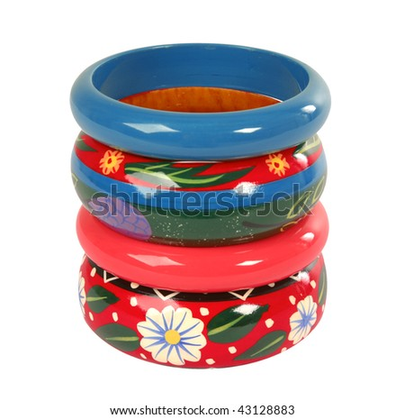 color flowers wooden bracelet - stock photo