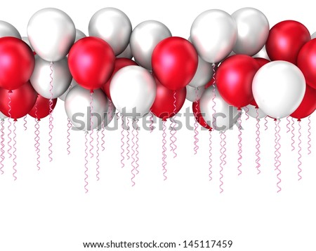 Color flying balloons isolated on white. Background with colorful balloons. 3d Design  - stock photo