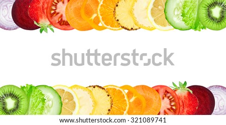 Color fruit and vegetable slices on white background. Food concept
