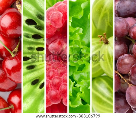 Color fruits and berries. Fresh food background - stock photo