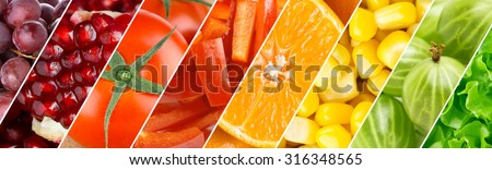 Color fruits, berries and vegetables. Healthy food background. Fresh food