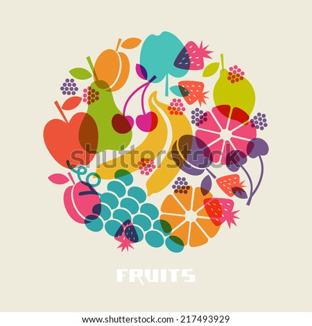 Color fruits icon. Food sign. Healthy lifestyle illustration for print, web. Circle design element - stock photo