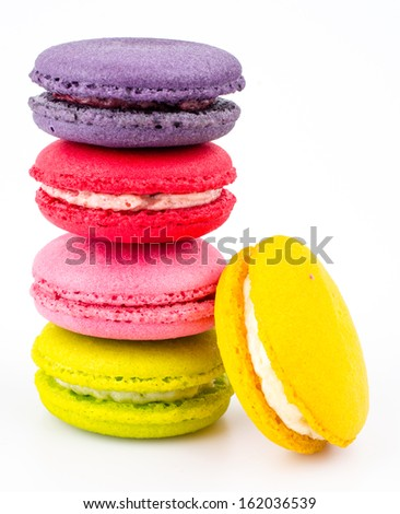 Color ful macaroon on white background - stock photo