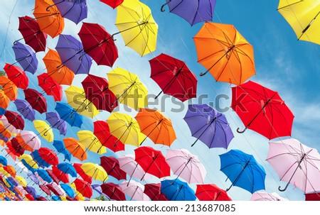 Color full hanging umbrella - stock photo